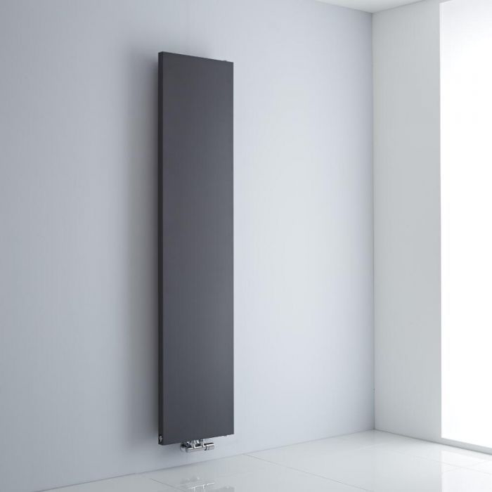 Milano Riso - Anthracite Flat Panel Central Inlet Vertical Designer Radiator 1820mm x 400mm