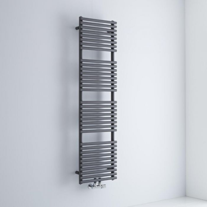 Milano Via - Anthracite Bar on Bar Central Connection Heated Towel Rail 1521mm x 400mm