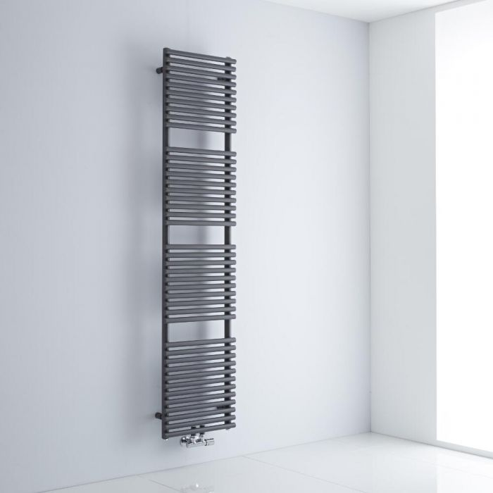 Milano Via - Anthracite Bar on Bar Central Connection Heated Towel Rail 1823mm x 400mm