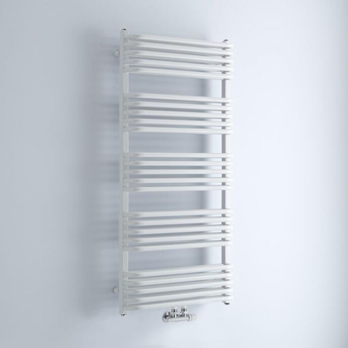 Milano Bow - White D Bar Central Connection Heated Towel Rail 1269mm x 600mm