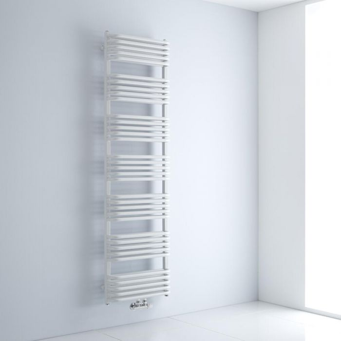Milano Bow - White D Bar Central Connection Heated Towel Rail 1800mm x 500mm