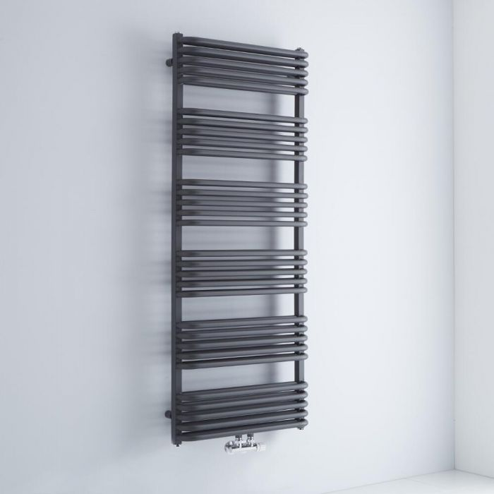 Milano Bow - Anthracite D Bar Central Connection Heated Towel Rail 1533mm x 600mm