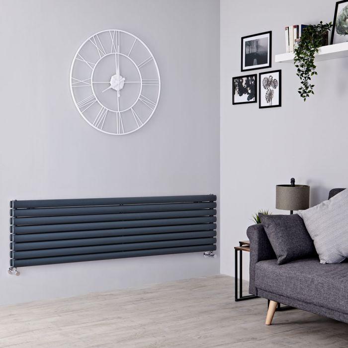 Milano Aruba - Anthracite Horizontal Designer Radiator 472mm x 1600mm (Double Panel)