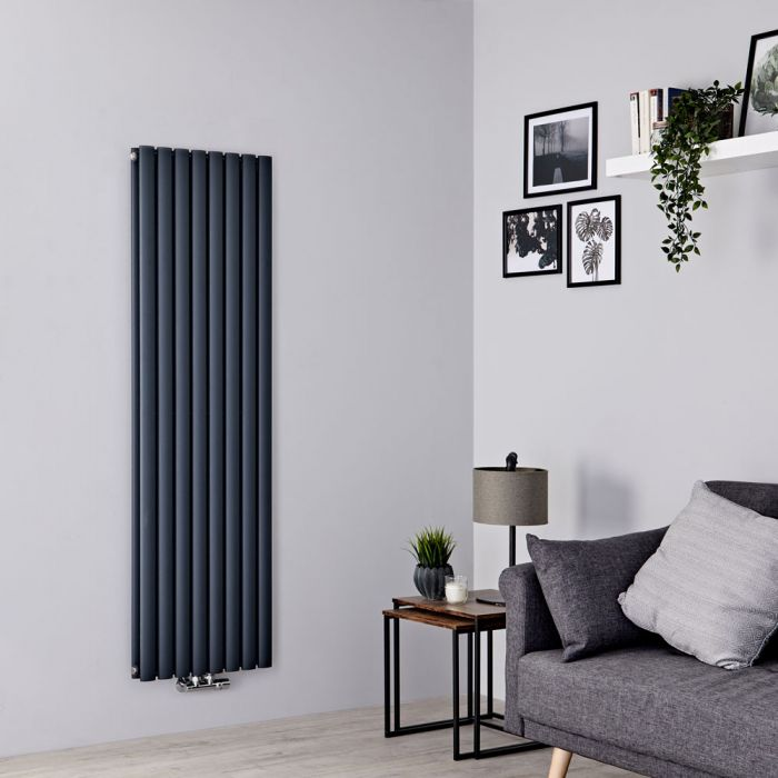 Milano Aruba Flow - Anthracite Vertical Double Panel Middle Connection Designer Radiator 1600mm x 472mm