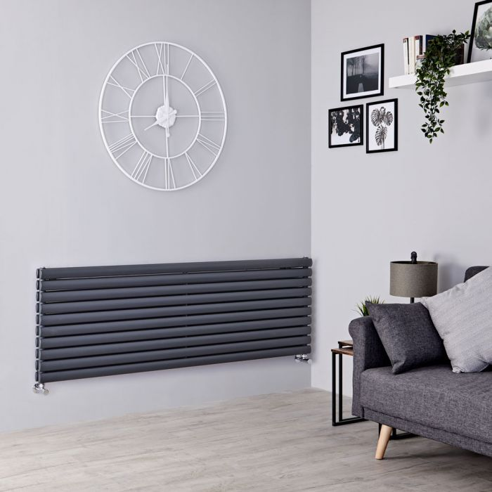 Milano Aruba - Anthracite Horizontal Designer Radiator 590mm x 1600mm (Double Panel)