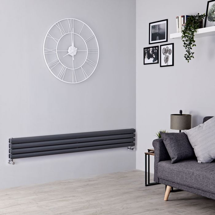 Milano Aruba - Anthracite Horizontal Designer Radiator 236mm x 1600mm (Double Panel)