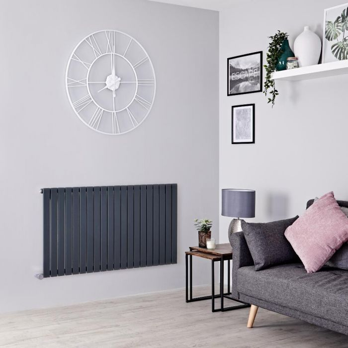 Milano Capri Electric - Anthracite Horizontal Flat Panel Designer Radiator 635mm x 1180mm