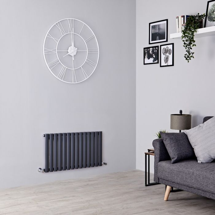Milano Aruba - Anthracite Horizontal Designer Radiator 400mm x 834mm (Single  Panel)
