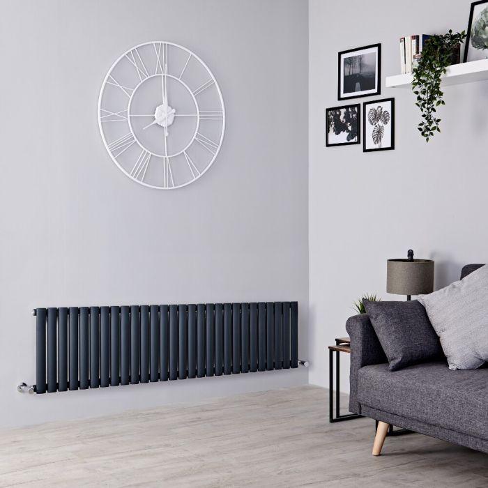 Milano Aruba - Anthracite Horizontal Designer Radiator 400mm x 1647mm (Single  Panel)