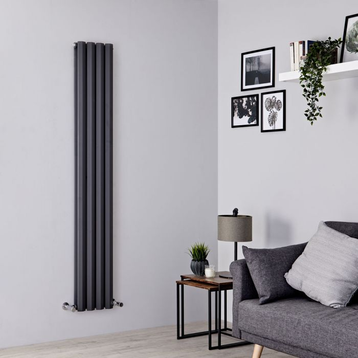 Milano Viti - Anthracite Vertical Diamond Double Panel Designer Radiator 1600mm x 280mm
