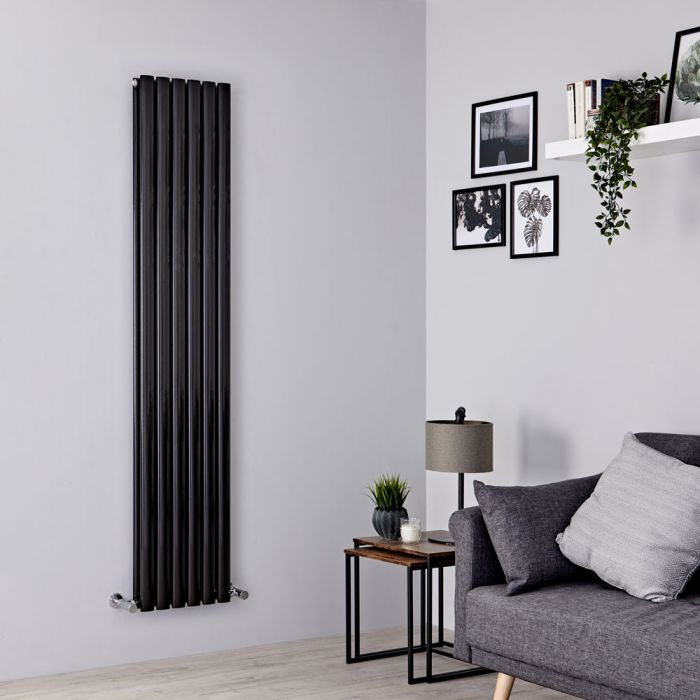 Milano Aruba - Black Vertical Designer Radiator 1600mm x 354mm (Double Panel)