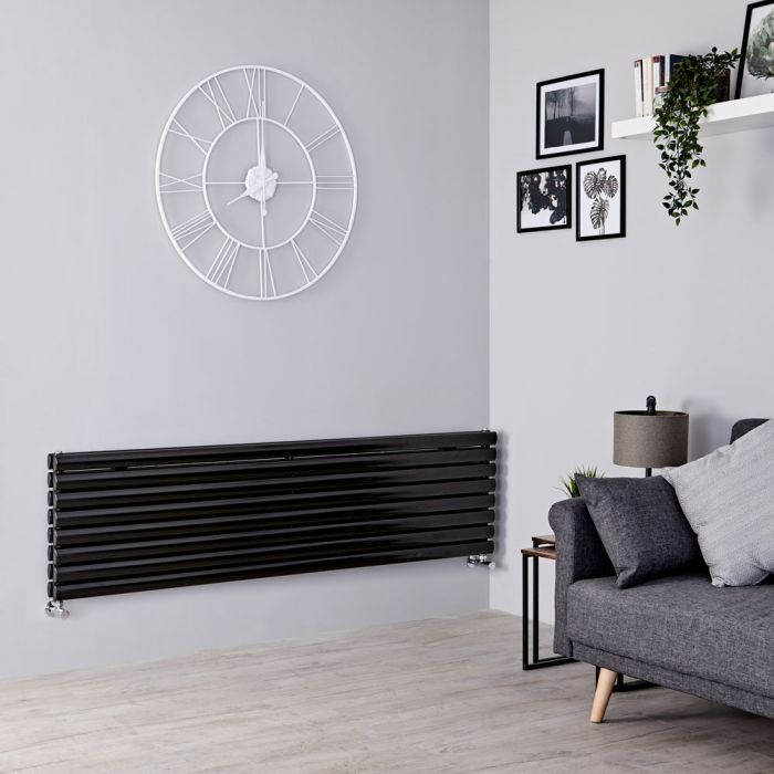 Milano Aruba - Black Horizontal Designer Radiator 472mm x 1600mm (Double Panel)