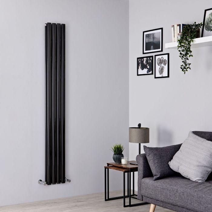 Milano Aruba Slim - Black Space-Saving Vertical Designer Radiator 1600mm x 236mm