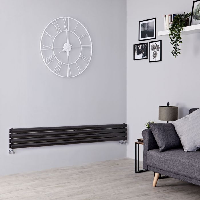 Milano Aruba - Black Horizontal Designer Radiator 236mm x 1600mm (Double Panel)