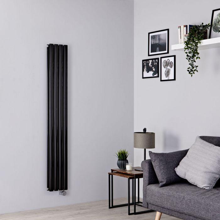 Milano Aruba Slim Electric - Black Space-Saving Vertical Designer Radiator 1600mm x 236mm (Double Panel)