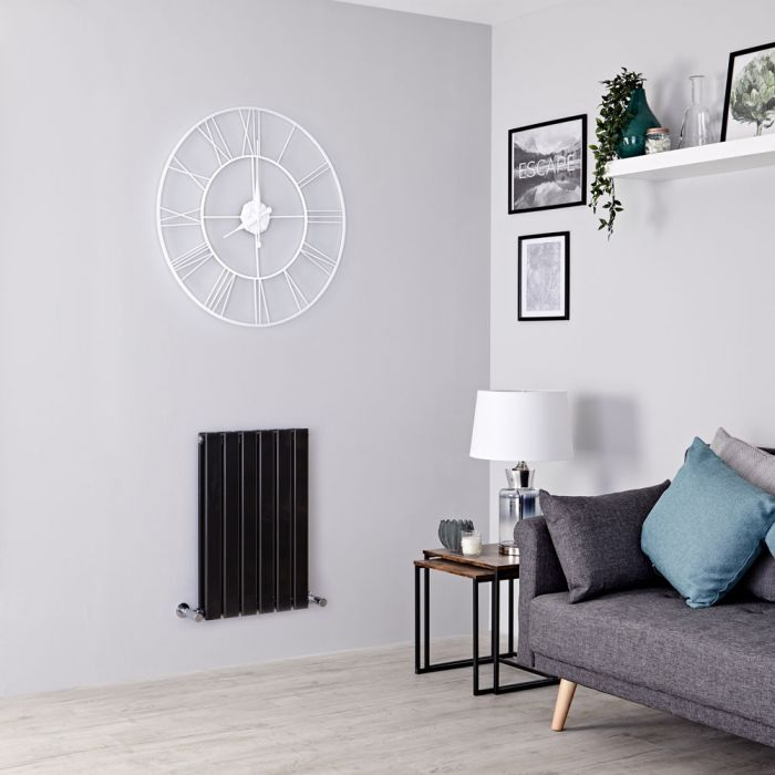 Milano Alpha - Black Horizontal Double Slim Panel Designer Radiator 635mm x 420mm