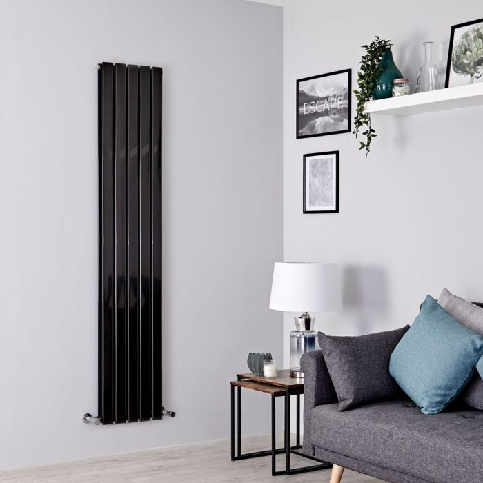 Milano Alpha - Black Vertical Double Designer Radiator 1600mm x 350mm