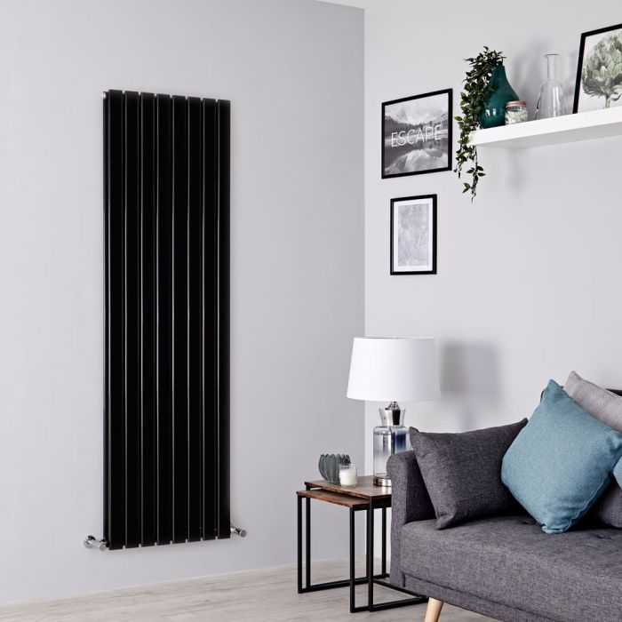 Milano Alpha - Black Vertical Double Designer Radiator 1600mm x 560mm