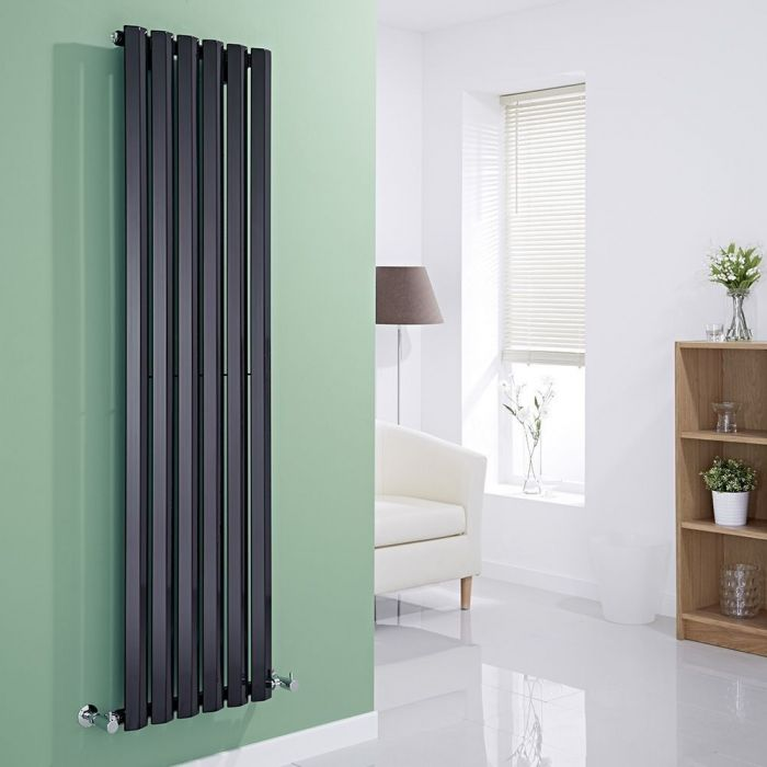 Milano Viti - Black Vertical Diamond Panel Designer Radiator 1600mm x 420mm