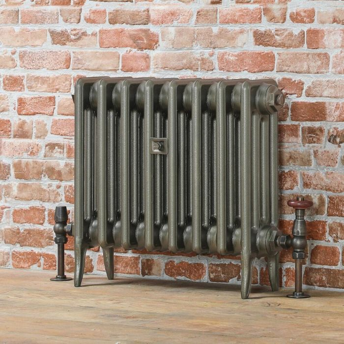 Milano Alice - Low-Level Classic Column Cast Iron Radiator - 460mm Tall - Antique Brass - Multiple Sizes Available