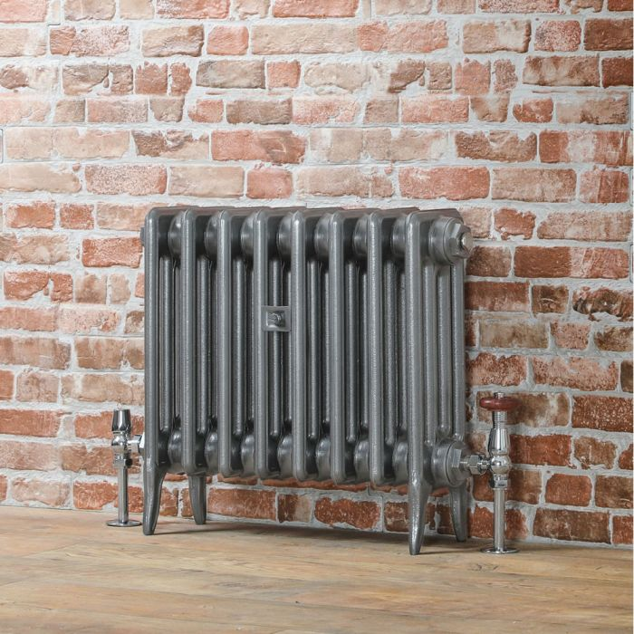 Milano Alice - Low-Level Classic Column Cast Iron Radiator - 460mm Tall - Pewter - Multiple Sizes Available