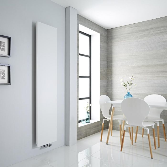 Milano Riso - White Flat Panel Central Inlet Vertical Designer Radiator 1820mm x 400mm
