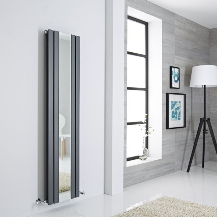 Milano Icon - Anthracite Vertical Mirrored Designer Radiator 1600mm x 385mm