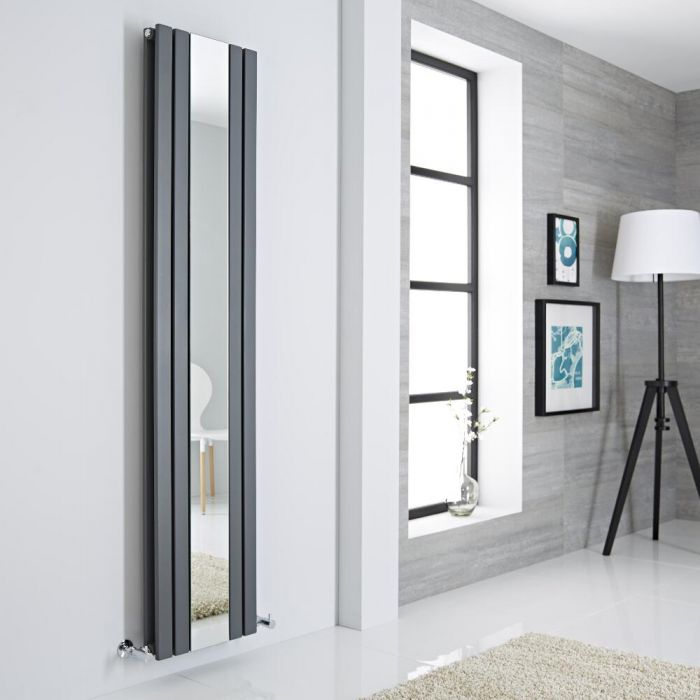 Milano Icon - Anthracite Vertical Mirrored Designer Radiator 1800mm x 385mm