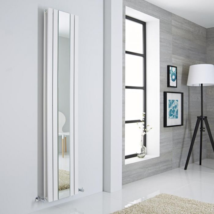 Milano Icon - White Vertical Mirrored Designer Radiator 1800mm x 385mm
