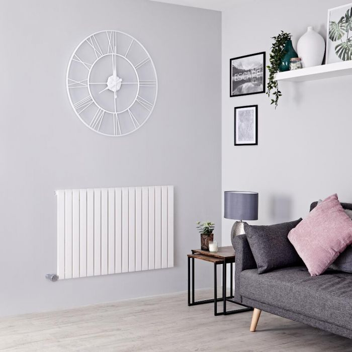 Milano Capri Electric - White Horizontal Flat Panel Designer Radiator 635mm x 1000mm