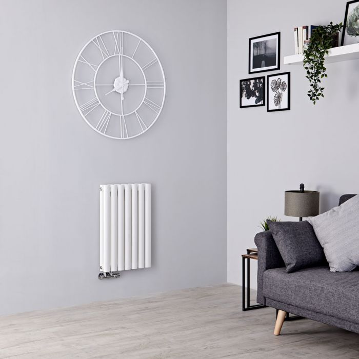 Milano Aruba Flow - White Horizontal Double Panel Middle Connection Designer Radiator 635mm x 415mm