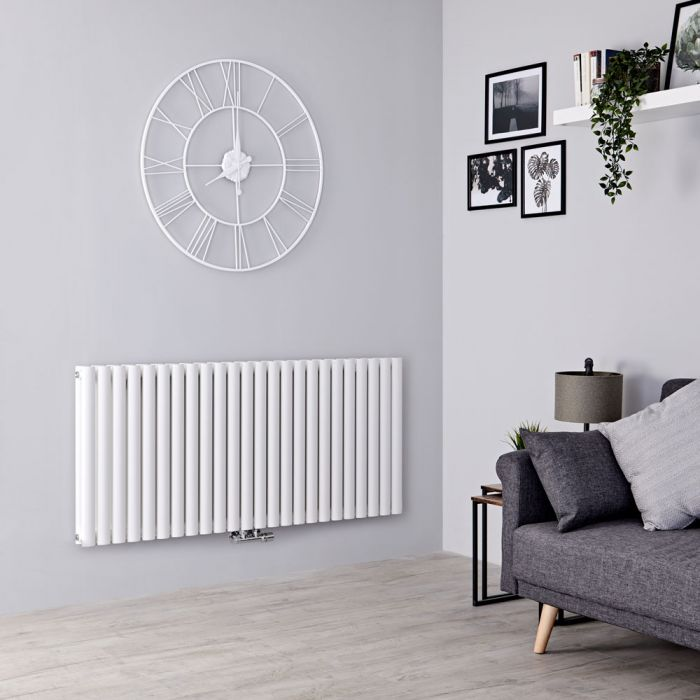 Milano Aruba Flow - White Horizontal Double Panel Middle Connection Designer Radiator 635mm x 1411mm
