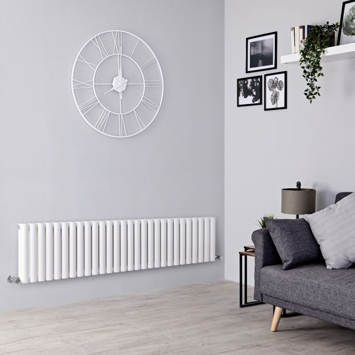 Milano Aruba - White Horizontal Designer Radiator 400mm x 1647mm (Double Panel)