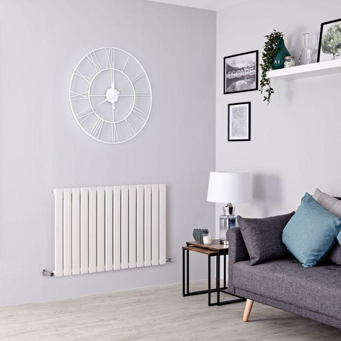 Milano Alpha - White Horizontal Single Slim Panel Designer Radiator 635mm x 980mm