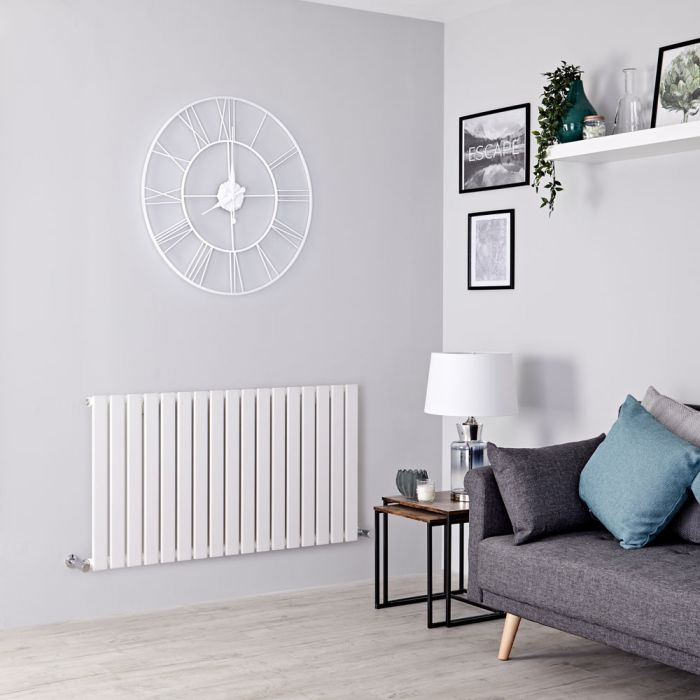 Milano Alpha - White Horizontal Single Slim Panel Designer Radiator 635mm x 1190mm