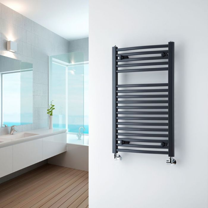 Milano Brook - Anthracite Curved Heated Towel Rail 800mm x 500mm