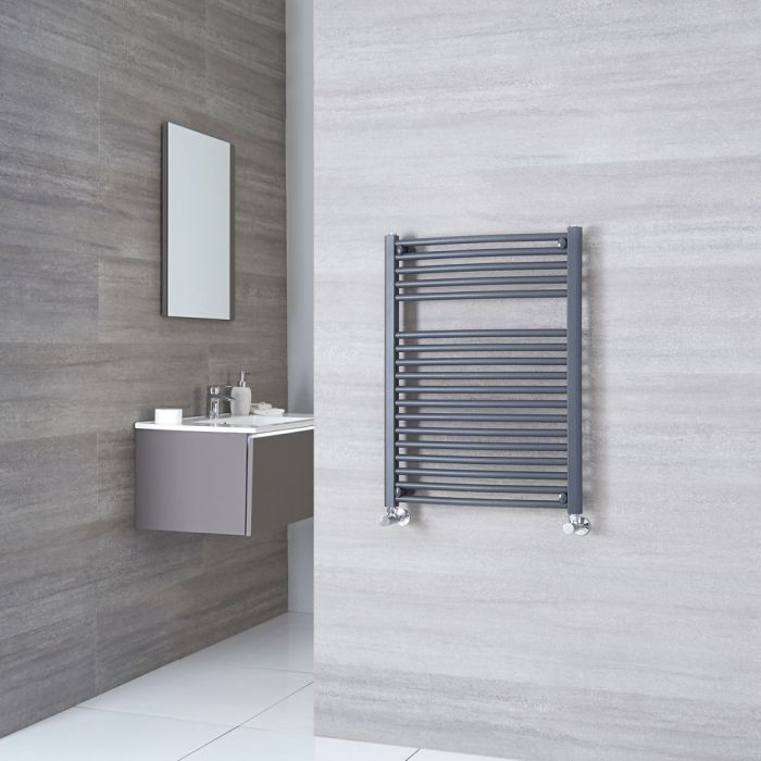 Milano Brook - Anthracite Flat Heated Towel Rail 800mm x 600mm