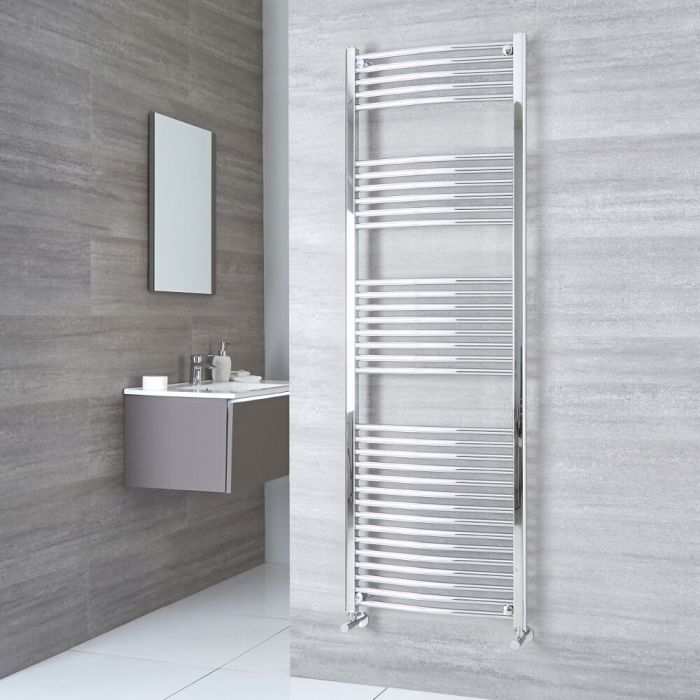 Milano Ribble - Curved Chrome Heated Towel Rail 1800mm x 500mm