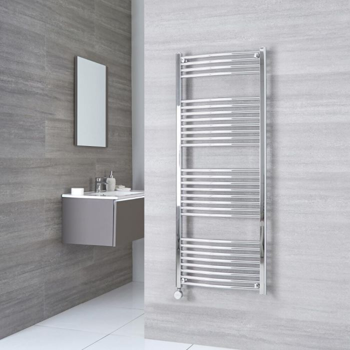 Milano Ribble Electric - Curved Chrome Heated Towel Rail 1500mm x 600mm