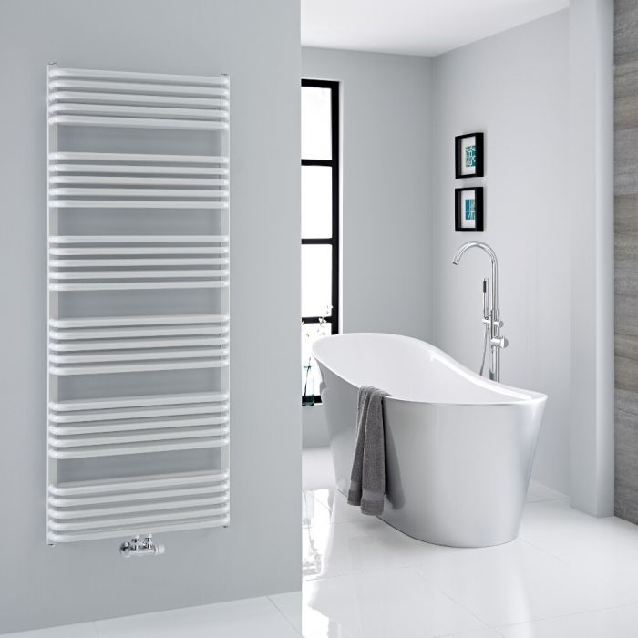 Milano Bow - White D Bar Central Connection Heated Towel Rail 1533mm x 600mm