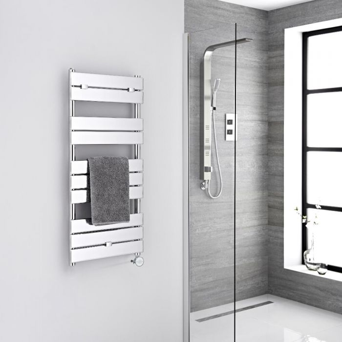 Milano Electric Lustro - Designer Chrome Flat Panel Heated Towel Rail - 1000mm x 450mm