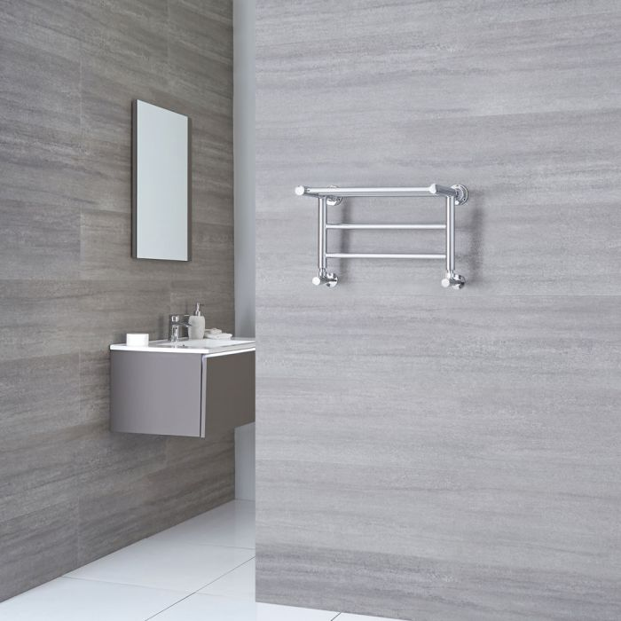Milano Pendle - Chrome Heated Towel Rail with Heated Shelf - 294mm x 532mm