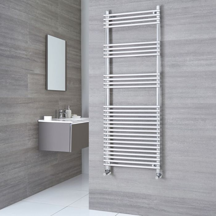 Kudox - Flat Chrome Bar on Bar Towel Rail 1650mm x 450mm