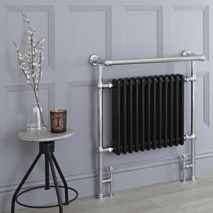 Milano Trent - Black Traditional Heated Towel Rail - 930mm x 790mm (With Overhanging Rail)