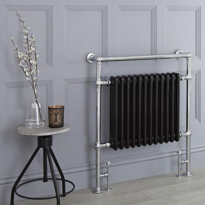 Milano Trent - Black Traditional Heated Towel Rail - 930mm x 790mm (Flat Top Rail)