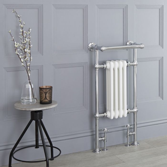 Milano Trent - Traditional Heated Towel Radiator 930mm x 452mm (Angled Top Rail)