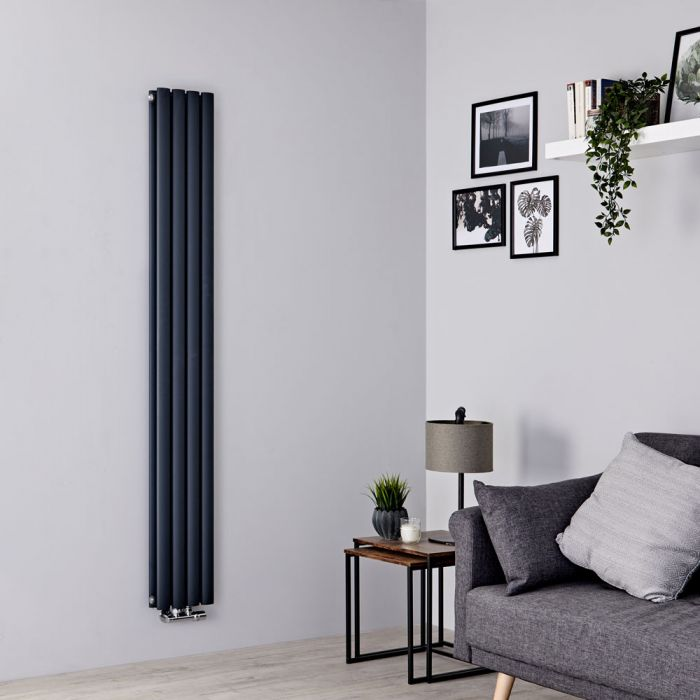 Milano Aruba Flow - Anthracite Vertical Double Panel Middle Connection Designer Radiator 1780mm x 236mm