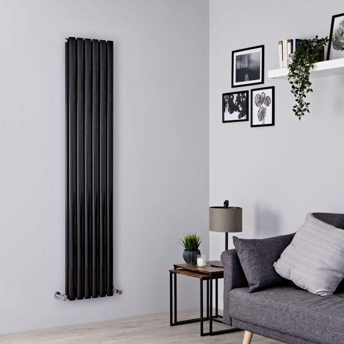 Milano Aruba - Black Vertical Designer Radiator 1780mm x 354mm (Double Panel)