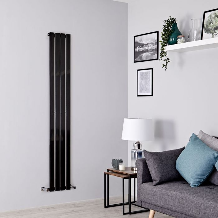 Milano Alpha - Black Vertical Single Designer Radiator 1780mm x 280mm