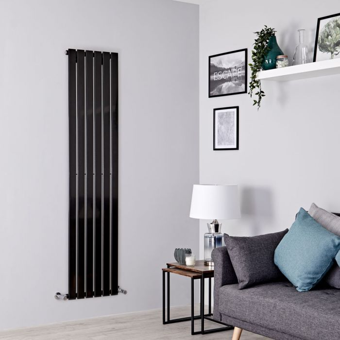 Milano Alpha - Black Vertical Single Designer Radiator 1780mm x 420mm